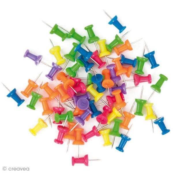 Punaises d'affichage Multicolores - Classiques - 60 pcs - Photo n°1