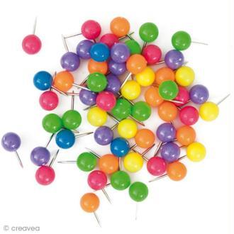Punaises d'affichage Multicolores - Rondes - 60 pcs