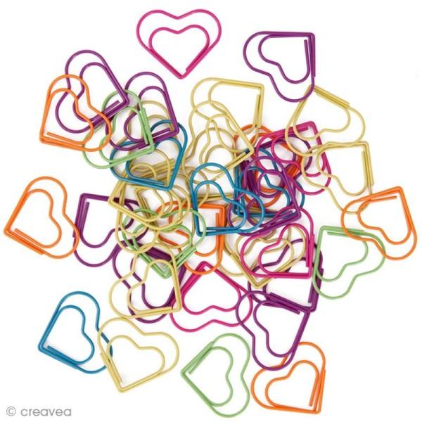 Trombones de couleur - Coeurs 3 x 2,5 cm - 30 pcs - Photo n°1