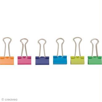 Pinces double clip - Multicolore 19 mm - 12 pcs