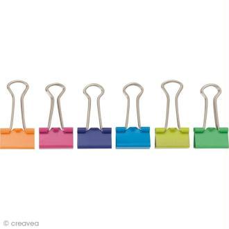 Pinces double clip - Multicolore 25 mm - 12 pcs