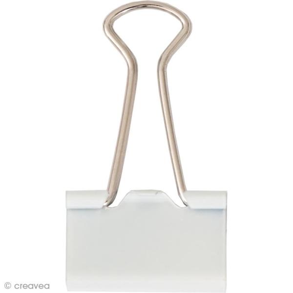 Pinces double clip - Blanc 25 x 10 mm - 12 pcs - Photo n°1