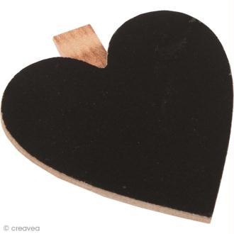Mini ardoise coeur - clip pince à linge - 6,5 cm