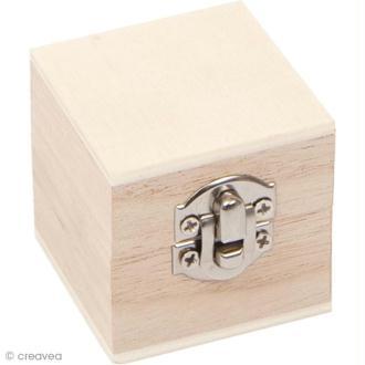 Coffre en bois à décorer - Carré 4,5 cm