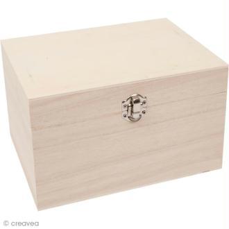 Coffre en bois à décorer - Rectangulaire 20,5 cm