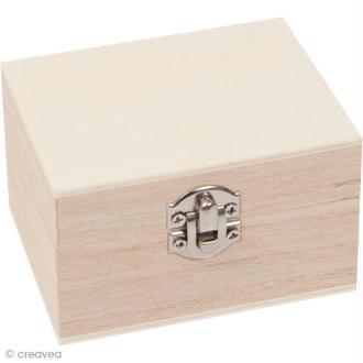 Coffre en bois à décorer - Rectangulaire 8,5 cm