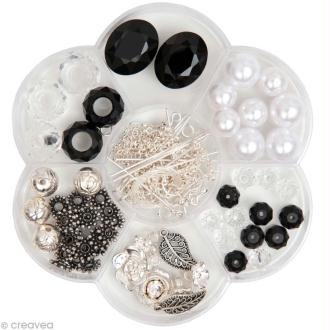 Kit Perles Bijoux - Fleur Fashion - Noir / Blanc - 90 pcs