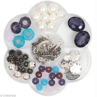 Kit Perles Bijoux - Fleur Fashion - Lilas / Turquoise - 90 pcs