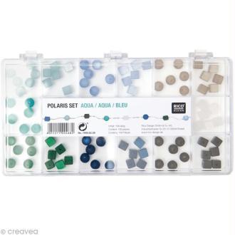 Perles Polaris Bleu Rondes et carrées - 108 pcs