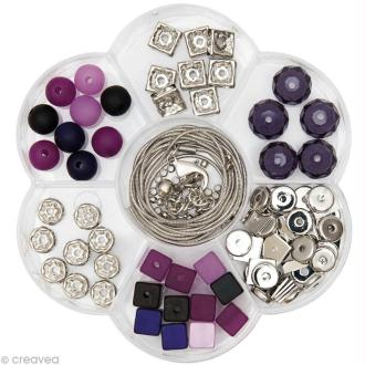 Perles Polaris - Kit Bijoux Fleur Baie et Lilas - 118 pcs