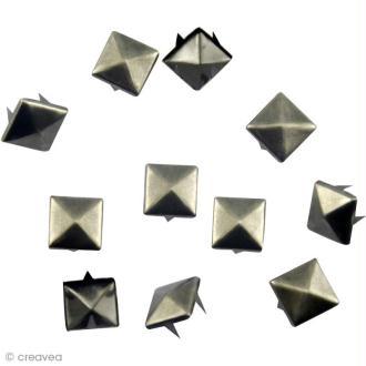 Clou à griffes - Carré 6 mm argent vieilli x 10