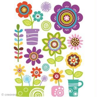 Stickers gel 3D - Fleurs x 12