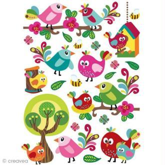 Stickers gel 3D - Liberty oiseaux x 22