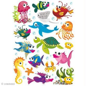 Stickers gel 3D - Animaux aquatiques x 34