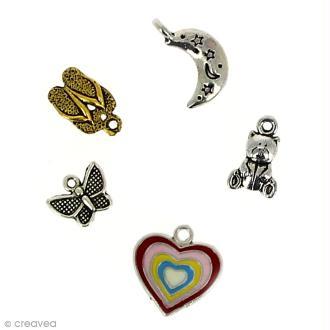 Breloque en métal émaillé coeur x 5