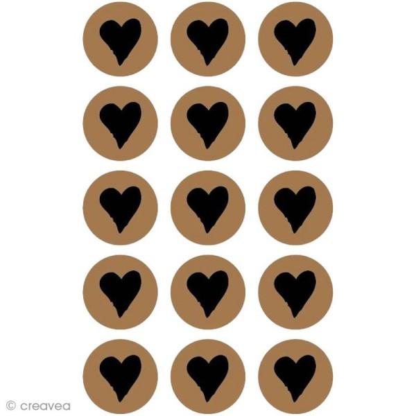 Stickers kraft - Rond avec coeur 2,5 cm - 60 pcs - Photo n°1