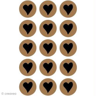 Stickers kraft - Rond avec coeur 2,5 cm - 60 pcs