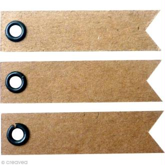 Etiquette à oeillet Kraft - 5 x 1,2 cm - 20 pcs