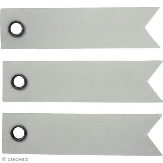 Etiquette à oeillet Blanc - 5 x 1,2 cm - 20 pcs