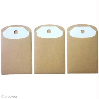 Mini enveloppe kraft et étiquettes - 4,8 x 7,6 cm - 6 pcs