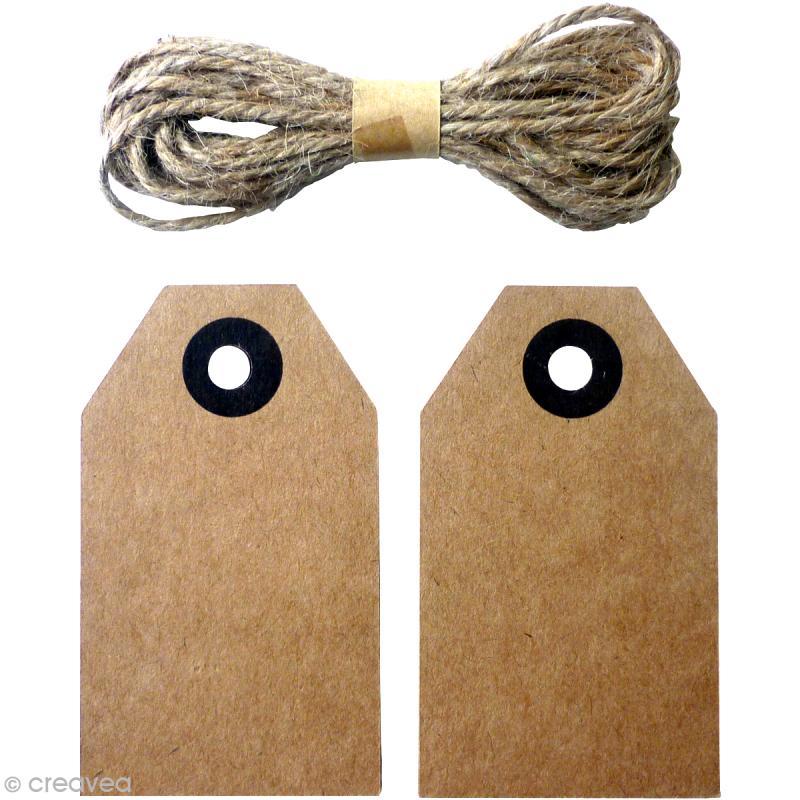 etiquette vintage en kraft avec cordon de jute 8 x 4 5 cm 20 pcs embellissement papier. Black Bedroom Furniture Sets. Home Design Ideas