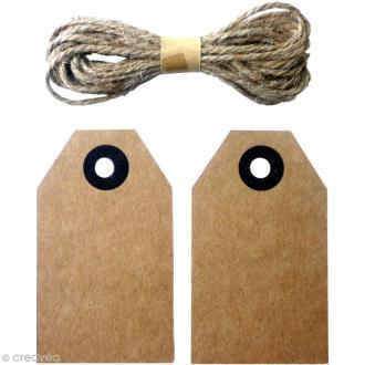 Etiquette vintage en kraft avec cordon de jute - 8 x 4,5 cm - 20 pcs