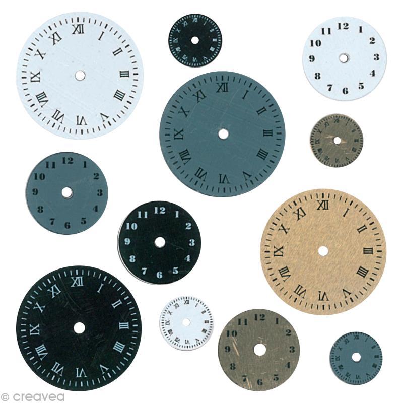 Embellissement scrap horloges 12 cadrans - Attache cadre autocollant ...