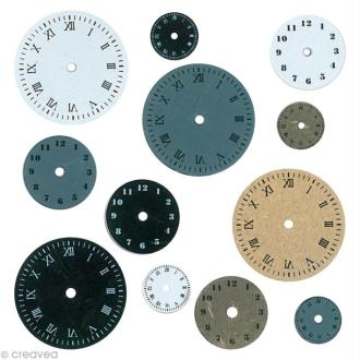 Embellissement scrap - Horloges - 12 cadrans