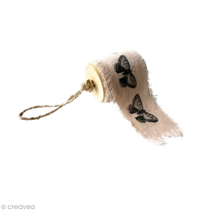 Ruban de tissu imprimé - Papillons 4 x 90 cm - Photo n°1