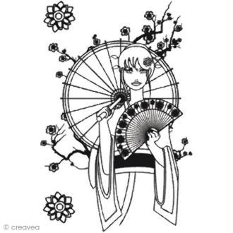 Transfert textile thermocollant A4 - Manga girl noir