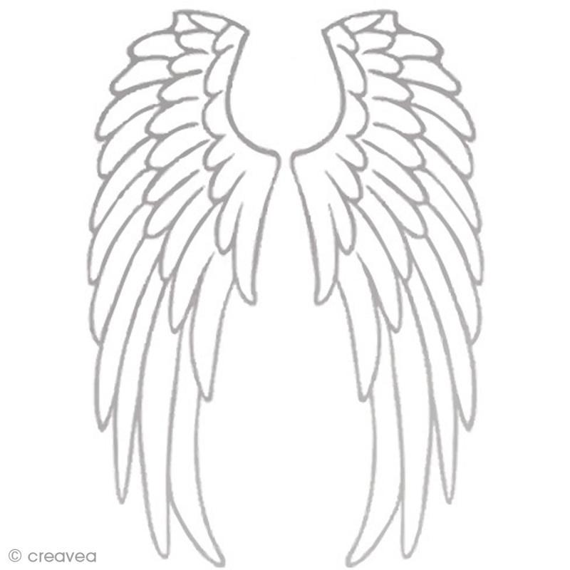 Transfert textile thermocollant a4 ailes d 39 ange argent - Ailes d ange dessin ...