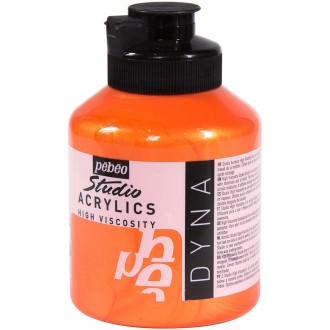 Peinture acrylique Pébéo Studio - Dyna Orange jaune iridescent 500 ml
