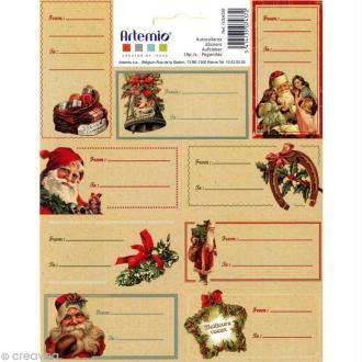 Etiquettes cadeaux Noël à l'ancienne x 18