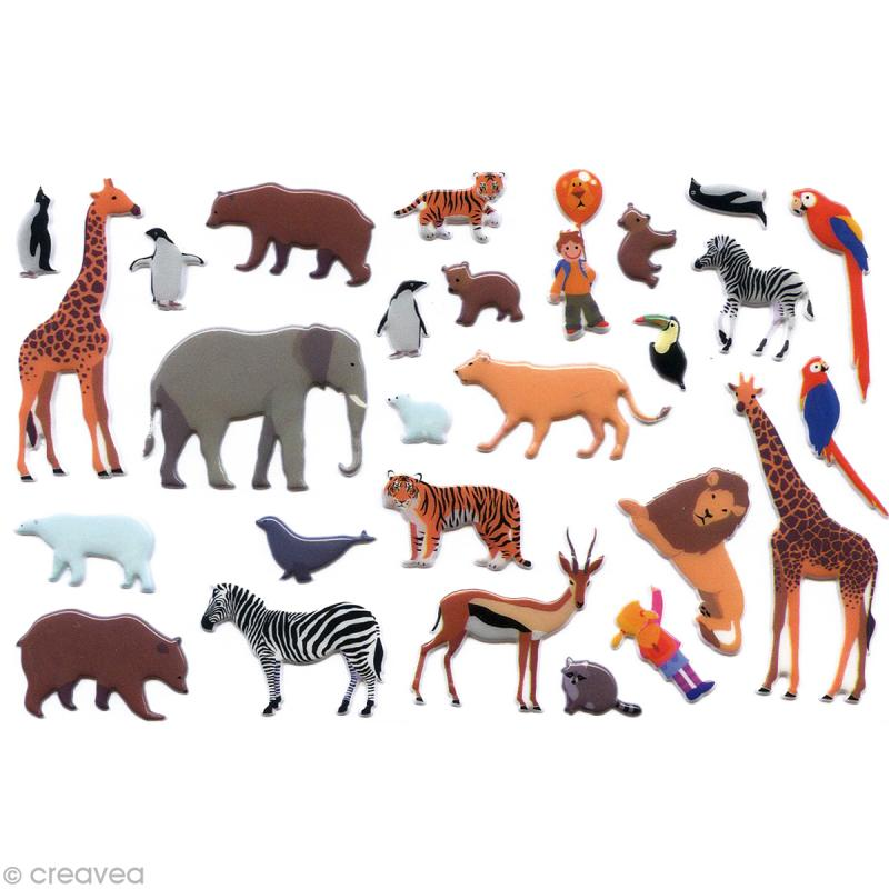 Stickers puffies 13 5 x 8 5 cm zoo x 27 autocollants - Attache cadre autocollant ...