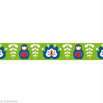 Masking tape Noël - Russe vert - 15 mm x 10 m