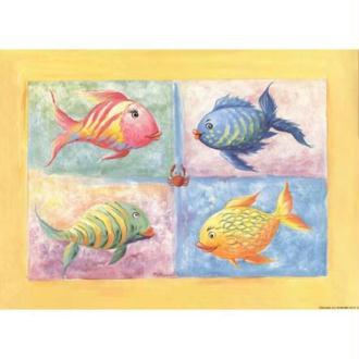 Image 3D Enfant - 4 poissons colorés 24 x 30 cm
