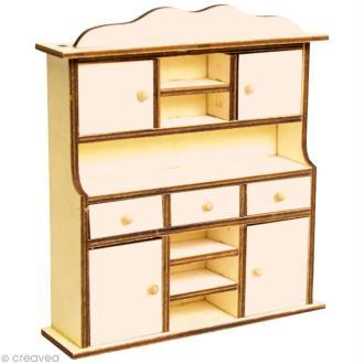 Miniature Buffet à tiroirs en bois pour poupée - 13 x 14,5 x 3,5 cm