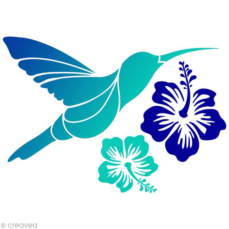 Colibri Hibiscus pochoir home déco a4 - colibri & hibiscus - pochoir mural - creavea