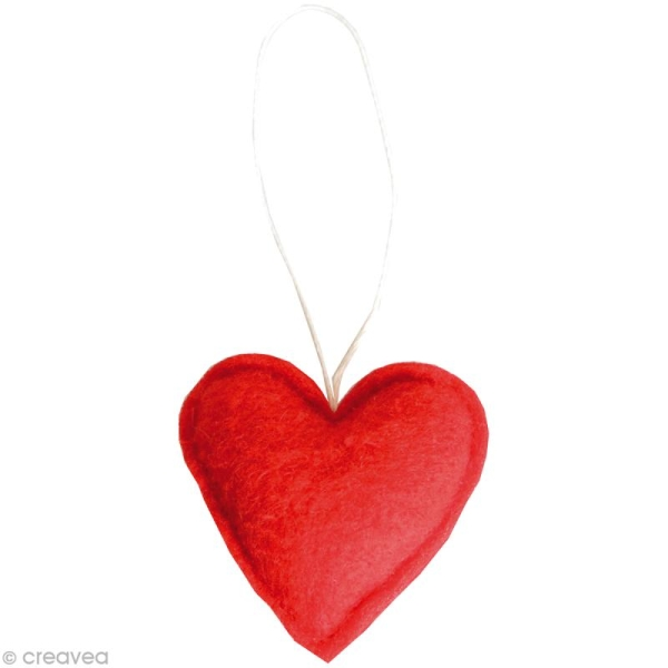 coeur rouge en feutrine d corer 6 cm x 6 formes en. Black Bedroom Furniture Sets. Home Design Ideas