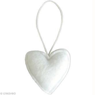 Coeur blanc en feutrine à décorer 6 cm x 6