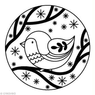 Tampon Noël russe - Rond oiseau - 5 x 5 cm