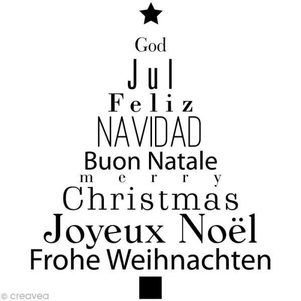 Tampon Noël - Sapin textes - 7,5 x 6,5 cm - Photo n°1