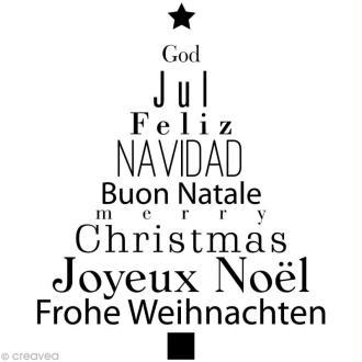 Tampon Noël - Sapin textes - 7,5 x 6,5 cm