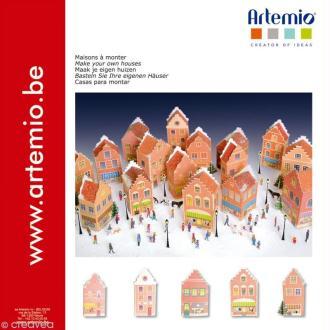 Maisons de Noël en papier à monter