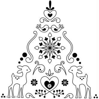 Tampon Noël russe - Sapin et faon - 10 x 10 cm