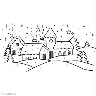 Tampon Noël - Village de Noël - 12 x 6,5 cm