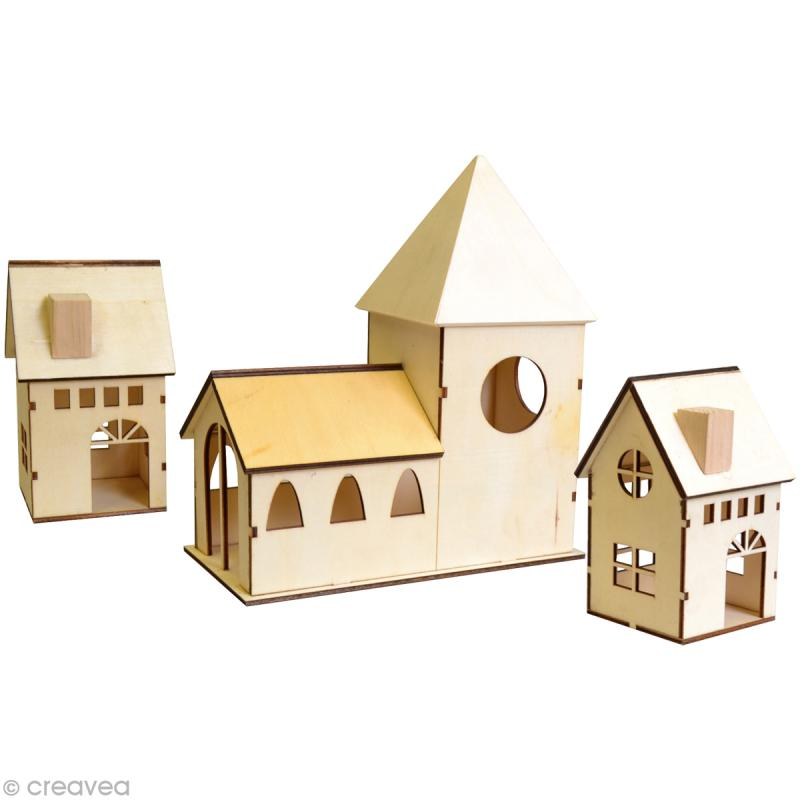 village de noël à décorer - eglise + 2 maisons 13,5 cm - objets