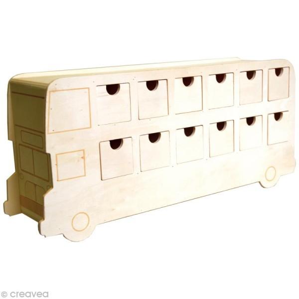 calendrier de l 39 avent en bois d corer bus anglais 42. Black Bedroom Furniture Sets. Home Design Ideas