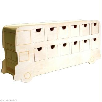 Calendrier de l'avent en bois à décorer - Bus anglais - 42 cm