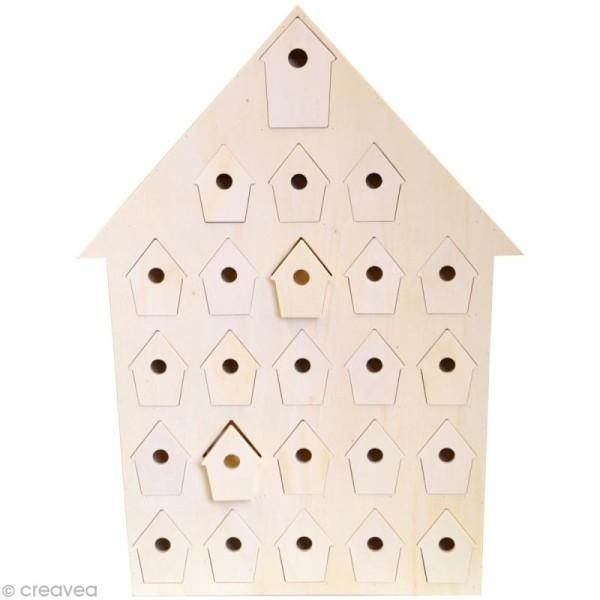Calendrier de l'avent en bois à décorer - Nichoir - 47 cm - Photo n°1